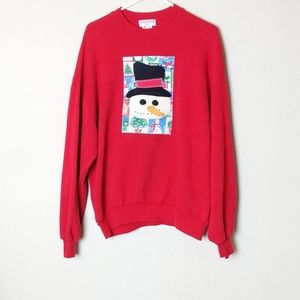 Red Snow Man Christmas Sweater
